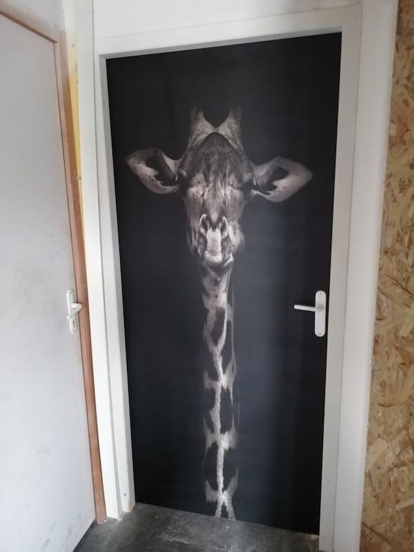 Une girafe sur une porte, c'est possible !
